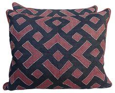 "Rust & Black Kuba Cloth Pillows, Pair - Decorative Pillows - Decorative Accents - Decor | One Kings Lane         24"" L x 5"" W x 20"" H"