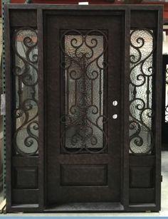 Details about Wrought Iron Door, Doors W/ Iron Works Oper-able Glass Panel Iron Front Door, House Front Door, Glass Front Door, Glass Door, Front Doors, Glass Art, Front Porch, Wood Entry Doors, Entrance Doors