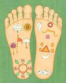 Meditate on the Lord's lotus feet while studying Vamandev - give children outlines of footprints and let them draw in the symbols on the feet of the Lord
