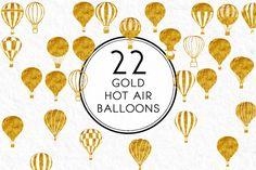 Gold Hot Air Balloons by Kaazuclip on @creativemarket