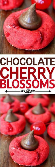 Chocolate Cherry Blossom Cookies - 16 Wintertime Christmas Cookies to Celebrate the Season