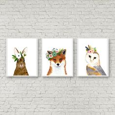 Watercolor owl Owl painting Woodland Nursery Animal by zuhalkanar