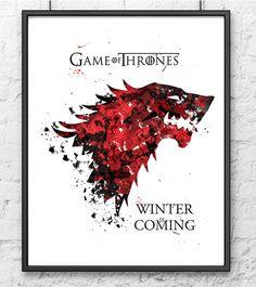Juego de tronos impresión, casa Stark acuarela, invierno es venida, arte acuarela, cartel de película, arte de la pared, Home Decor, Kids Room Decor - 252