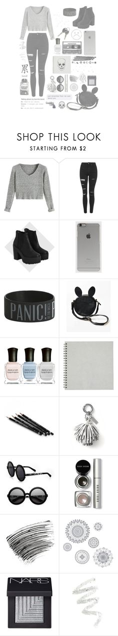 """Grey and Black"" by pastelxdolls ❤ liked on Polyvore featuring Topshop, River Island, Incase, CASSETTE, Deborah Lippmann, Banana Republic, Karen Walker, Bobbi Brown Cosmetics, WallPops and NARS Cosmetics"