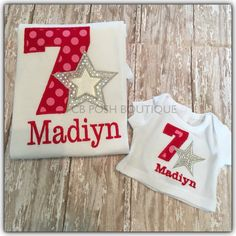 Any American Girl fans? Do we have the perfect personalized birthday shirts for you! Available in numbers 1-9. Doll shirt fits 18 inch dolls. Solid Embroidery. Quick turn around time.   https://www.etsy.com/listing/262430570/american-girl-birthday-embroidered-shirt?ref=shop_home_active_17