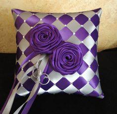 Anillo de boda portador almohada plata púrpura o por encargo