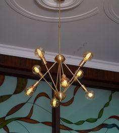 Mid-Century Brushed Brass Sputnik Starburst Light Fixture Chandelier - Industrial Modern fixture - BEST PRICE by bluesky3786 on Etsy https://www.etsy.com/listing/233839414/mid-century-brushed-brass-sputnik