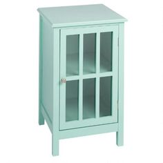 With a lattice-paned glass door and an interior shelf, our colored cabinet brings fashionable functionality into any space. Use it to store fine china in the dining room or a collection of DVDs in your den.