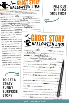 This printable mad libs ghost story is a fun halloween party game for kids, tweens, & teens. Also great for halloween school parties and can be used as a halloween homeschool activity. You can even roll the halloween madlibs into scrolls & tie candy to th Halloween Stories For Kids, Halloween Games Adults, Halloween Party Games, Theme Halloween, Kids Party Games, Halloween Couples, Halloween Activities, Women Halloween, Family Halloween