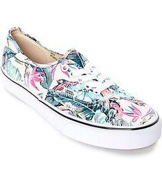 1c044a9859c Vans Authentic Tropical True White Shoes (Womens) Vans Skate Shoes, Pink  Cushions,