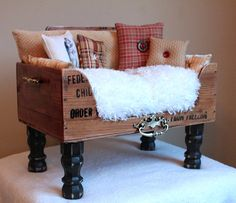 dog beds using suitcases | Wooden Pet Bed with Pillows by DesignerCraftGirl