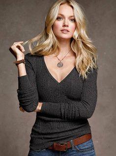 Cotton Thermal V-neck Sweater - Victoria's Secret