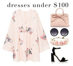 """Boho dress under $100"" by kerrygrace221 ❤ liked on Polyvore featuring MANGO, Sam Edelman, Mansur Gavriel, Alice + Olivia and Forever 21"