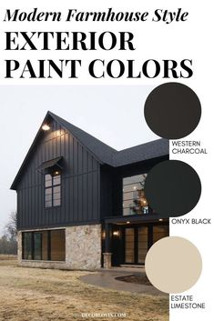 Modern Farmhouse Style Exterior Paint Colors - - Paint your home's exterior with confidance with these modern farmhouse exterior paint color combinations. Perfect for new build construction or renovations! Best House Colors Exterior, Farmhouse Exterior Colors, Best Exterior Paint, Farmhouse Paint Colors, House Paint Exterior, Exterior Paint Colors, Paint Colors For Home, Modern Exterior, Exterior Design