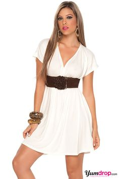 cute belted white dress!