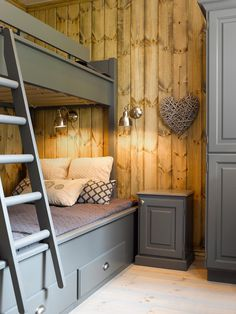 Furniture painted in Hampton Grey. Bunk Rooms, Bunk Beds, Cabin Homes, Log Homes, Cottage Design, House Design, Built In Bunks, Cool Kids Bedrooms, Basement Inspiration