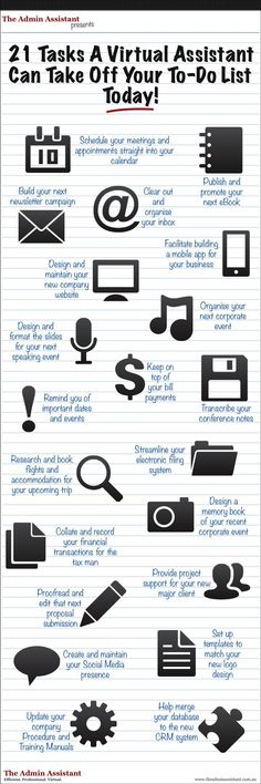 INFOGRAPHIC - Clear Your To Do List With A Virtual Assistant! - The Admin Assistant (Tech Hacks Spaces)