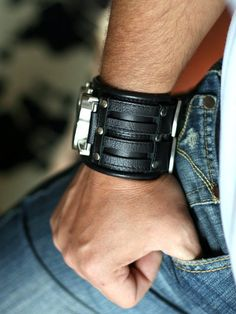 Mens wrist watch bracelet Steampunk Watches - SALE - Worldwide Shipping - Personalized gifts for him - Leather cuff wrist watch Biker Leather, Leather Cuffs, Leather Earrings, Natural Leather, Soft Leather, Steampunk Watch, Personalised Gifts For Him, Watch Model, Leather Watch Bands