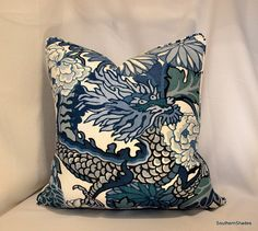 One or Both Sides - Chiang Mai Dragon China Blue by Schumacher Pillow Cover with Seam Cording
