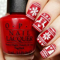 festive fair isle nails