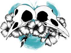 Bird Skulls by Aleksandra Kurczewska #skull #skulls #blue #art #creative #inspiration #redbubble #bird #olenka