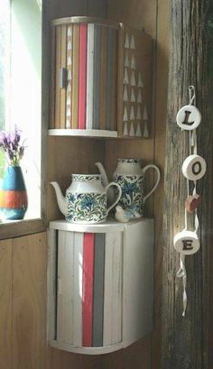 Bread Boxes painted and used as corner shelving decor