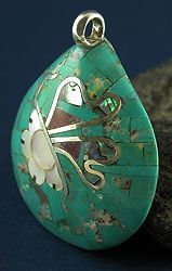 mosaic pendant with a shell base