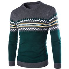 2017 Spring men's casual blouse sweater. Fashion Slim Striped Thin Sweater Man , Mens sweater round neck pullover  M-XXL
