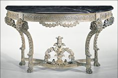 Decorative Crafts French Transitional Style Carved Wood Console