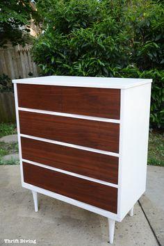 Mid-Century Modern dresser makeover - Dresser makeover for $35 from the thrift store - Thrift Diving