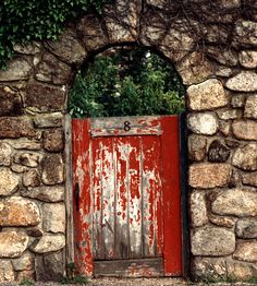 red weathered door and brickwork.