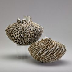 """ANNE GOLDMANTwo vessels, """"Stone Flower"""" and """"First Snow,""""…"""