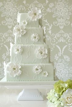 Square cake with soft features - modern meets traditional. Sage green square cake with delicate white sugar flowers and dotted piped leaf design, Rachelles Mint Wedding Cake, Square Wedding Cakes, Square Cakes, Beautiful Wedding Cakes, Gorgeous Cakes, Wedding Cake Designs, Wedding Desserts, Pretty Cakes, Green Wedding