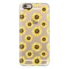 Casetify iPhone 6 Plus/6/5/5s/5c Case - Sunflowers - Transparent ($40) ❤ liked on Polyvore featuring accessories, tech accessories, phone cases, cases, electronics, phone, iphone case, iphone 5 cover case, apple iphone cases and iphone 6 case