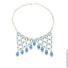 "Collares, granos hechos a mano.  Collar con cristales de ágata collar de ""ingravidez Azure"", ágata azul.  Joyería ""Kapochka felicidad.""  Masters Feria."