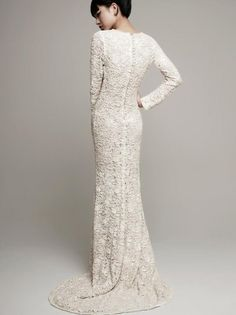 Elegant, Long Sleeve Lace Column/Sheath Bridal Gown With A High Neckline, Fully Covered Back, Sweep Train... Modest & Gorgeous Wedding Gown by YolanCris Spring 2014 bv