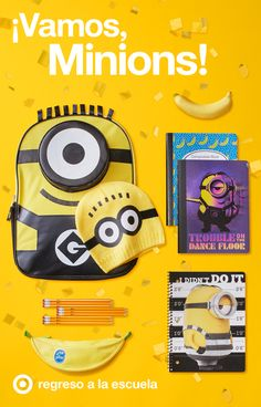 Son pequeños, amarillos y están dominando los útiles para el regreso a la escuela. Los Minions están en todos lados, hasta en los útiles que serán tus favoritos como la mochila oficial de los Minions con gorro de regalo, folders y cuadernos con Bob, Stewart y Kevin. Y obviamente, el exclusivo estuche de Yoobi perfecto para llevar todos los lápices, marcadores y resaltadores amarillos ¡BANANA!