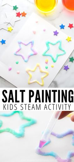 Make your own raised salt painting with a few simple supplies. Learn how to use salt in watercolor painting with this fun STEAM project for kids. Art Activities For Kids, Fun Crafts For Kids, Steam Activities, Preschool Art, Kids Fun, Cool Stuff For Kids, Crafts At Home, Preschool Planner, Easy Art For Kids