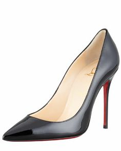 X1AW2 Christian Louboutin Decollete Patent Leather Stiletto Red Sole Pump
