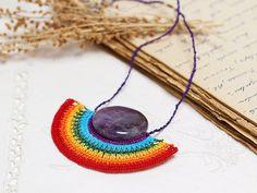 Rainbow Crochet Pendant Necklace in Multicolor by PinaraDesign, $46.00
