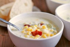 A thick, rich, chunky soup, with a pronounced corn flavor, and all round deliciousness. Perfect for Fall, this Best Ever Corn Chowder will be loved by the whole family! Is it a soup or is it a chowder?? Ever wondered what the difference is between a cream soup and a chowder? ME TOO! Before I learned to cook, I always thought they were the same thing, but I have since learned that to be called a chowder, it needs to use flour as a thickening agent and is generally chunky, vs a cream soup that…