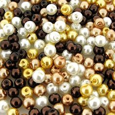 """Beads Direct USA's Glass Pearls Mix 200pcs Tiny Round Glass Pearls Approx 4mm in Diameter - """"Mocha Latte"""" Mix Beads Direct USA http://www.amazon.com/dp/B00VMSROSA/ref=cm_sw_r_pi_dp_dl.pvb1P68MVK"""