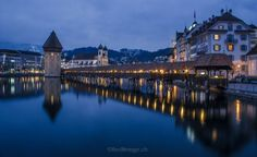 Sunset twilight moment at chapel bridge creates the beauty of. Sunset twilight moment at chapel bridge creates the… Swiss Travel Pass, Travel Route, Travel Dating, Chapelle, Beautiful Places In The World, National Geographic Photos, Stunning View, World Heritage Sites, Switzerland