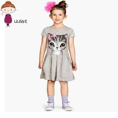 Kids Casual Dress Clothes Girls Bow Cat Baby Cotton Short Sleeves O-Neck Draped Summer Elegant Princess Party Dresses New 3-8T #Affiliate