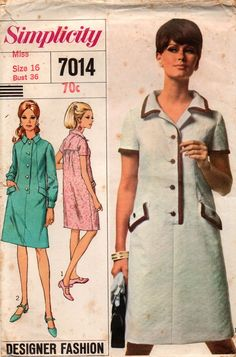 16f366f96494 Simplicity 7014 Womens Designer Coatdress 60s Vintage Sewing Pattern Size  16 Bust 36 Inches UNCUT Factory Folded
