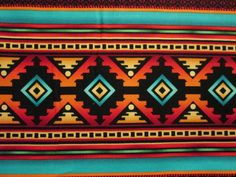 Traditional Navajo Teal Gold Border Cotton Fabric Fat par scizzors
