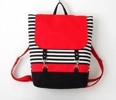 ROJO. Morral de la lona rayas negras / Laptop mochila / bolso de escuela / bolso del ordenador portátil / con cierre de broche, bolsillo frontal, diseño de BagyBags