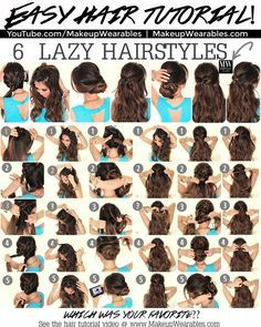 In this hair tutorial video, learn how to create 6 easy, 5 minute, lazy hairstyles for long hair, with braids, messy buns, and ponytails.