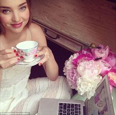 Artistic mind: The 33-year-old - who has already clocked in deals with Reebok, H&M and Swarovski - teamed up with British bone china brand Royal Albert in 2014 where she launched her tea cup range
