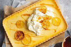 Silky smooth custard is the hero of this zesty lemon curd tart. Custard Desserts, Lemon Desserts, Lemon Recipes, Tart Recipes, Sweet Recipes, Dessert Recipes, Dessert Tarts, Custard Recipes, Orange Recipes